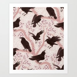 Crows pattern Art Print