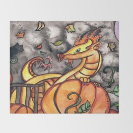 Halloween Pumpkin Dragon Throw Blanket