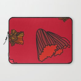 Snazzy Fall Flowers on Red Laptop Sleeve