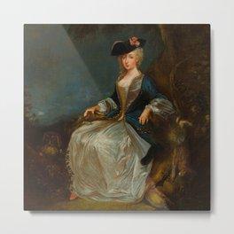 """Antoine Watteau """"Retour de Chasse: Portrait of Marie-Louise Sirois"""" Metal Print"""