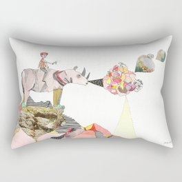 Rhinos Smell Roses Too Rectangular Pillow