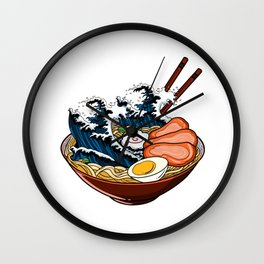 Japanese Ramen Noodles Wave Gift Product Kawaii Anime Print Wall Clock