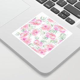 Watercolor Peonie with greenery Sticker
