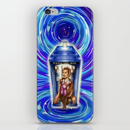 11th Doctor with Blue Phone box in time vortex iPhone Skin