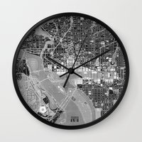 washington dc Wall Clocks featuring Washington DC Street Map by Color and Form