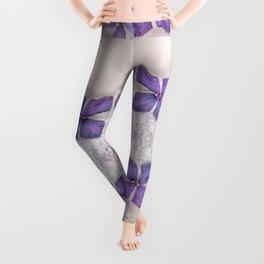 Zen Soft Pastel Purple Clematis Blossom Leggings