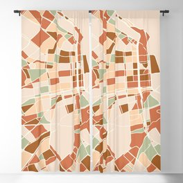 BUENOS AIRES ARGENTINA CITY MAP EARTH TONES Blackout Curtain