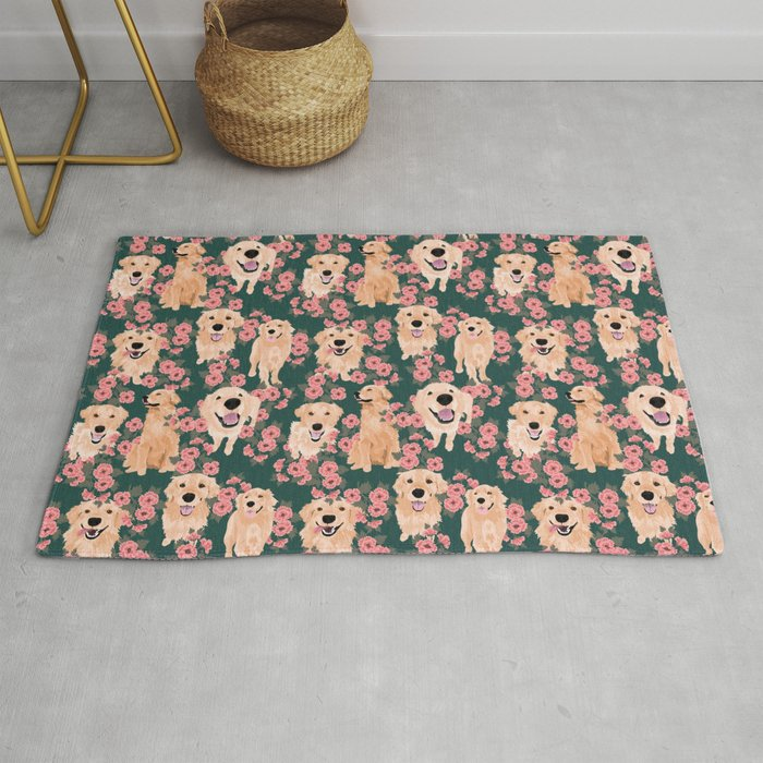 Golden Retriever and flowers on green Rug