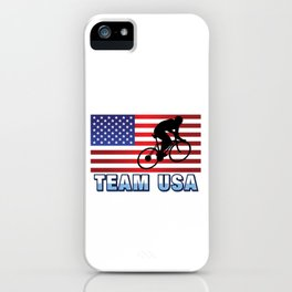 Team USA Bicycle American Flag Cycling Riding Outdoor Sports Gift Design iPhone Case