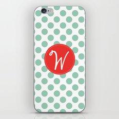 Monogram Initial W Polka Dot iPhone & iPod Skin