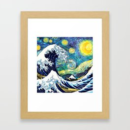 Starry Wave Night Framed Art Print