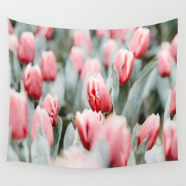 Pink Tulip Bulbs In A Field Green Leaves Wall Tapestry