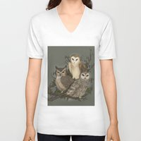 owls V-neck T-shirts featuring Owls by Jessica Roux