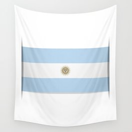 Flag of Argentina. The slit in the paper with shadows. Wall Tapestry