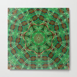 Nausea Neon Brick Mandala Metal Print