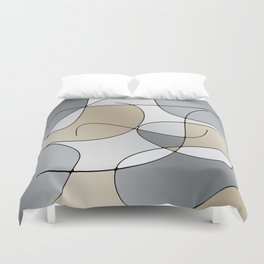ABSTRACT CURVES #1 (Grays & Beiges) Duvet Cover