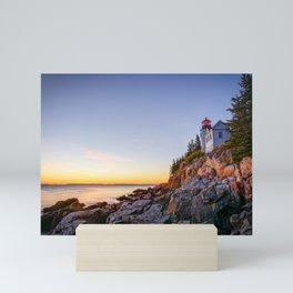 Acadia National Park Lighthouse Sunset Maine Coast Atlantic Ocean Landscape Mini Art Print