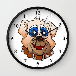 bulldog face. Wall Clock