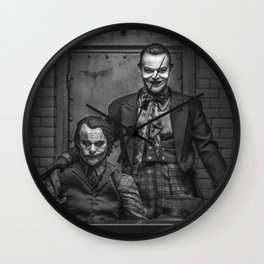 The Jokers in black and white Wall Clock