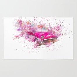 Pink Retro Car mixed media watercolor art Rug