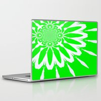 lime green Laptop & iPad Skins featuring Lime Green Modern Flower by 2sweet4words Designs