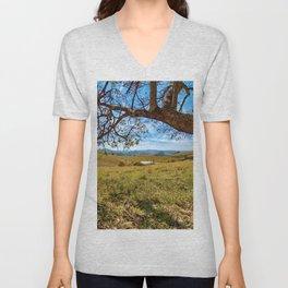 Mountains, Lake and Tree Unisex V-Neck