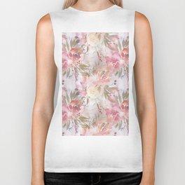 Modern blush pink ivory botanical watercolor floral Biker Tank