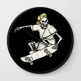 Vintage Skateboarding Skeleton Wall Clock