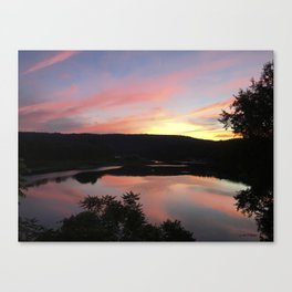 Summer Solstice Sunset Across The Big Eddy Canvas Print