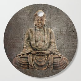 Sitting Buddha On Distressed Metal Background Cutting Board