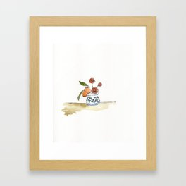 Kumquats, Poppies, and Blue and White Pot Framed Art Print