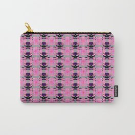 Raceway Plaid Skull and XBones: Pink, Grey, Purple Carry-All Pouch