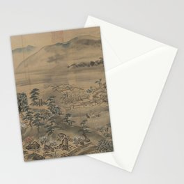 A garden picture in Osaka East in Japan. Ukiyoe Landscape Stationery Cards