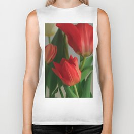 Crimson Red Tulip Flowers at Home Biker Tank