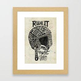 Gascap Motors, Ride it Right Helmet! vintage motorcycles Framed Art Print