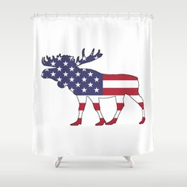 "Moose ""American Flag"" Shower Curtain"