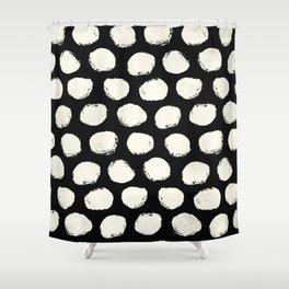 Trendy Cream Polka Dots on Black Shower Curtain
