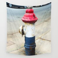 patriotic Wall Tapestries featuring Patriotic Hydrant by Cwilwol