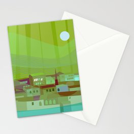 Fishing Village at Night Stationery Cards