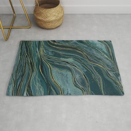 Tranquil Blue Gold Watercolor Waves Rug