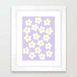 Lavender 70's Retro Flower Power Framed Art Print