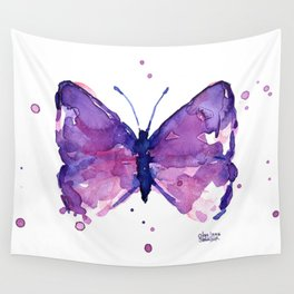 Butterfly Purple Watercolor Animal Wall Tapestry