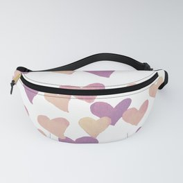 Valentine's Day Watercolor Hearts - pastel pink Fanny Pack