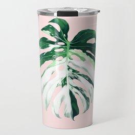 Monstera Albo Borsigiana in Pink Travel Mug