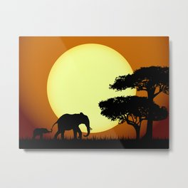 Safari elephants at sunset Metal Print