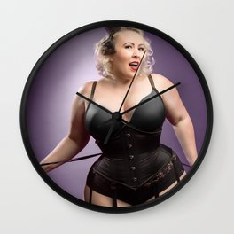 """Help Me With These Laces?"" - The Playful Pinup - Curvy Corset Pinup Girl by Maxwell H. Johnson Wall Clock"