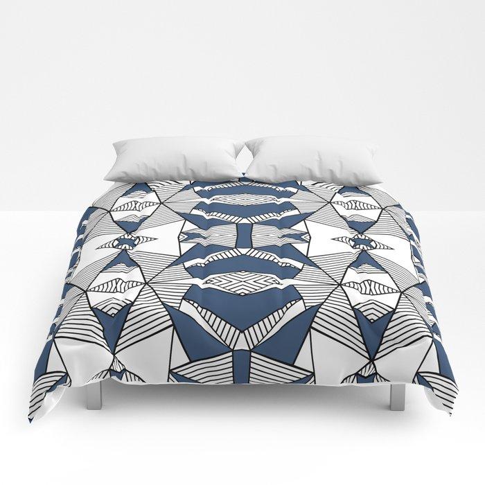 Triangle Tribal #2 Navy Comforters