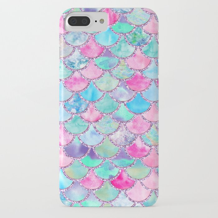 Colorful Pink and Blue Watercolor Trendy Glitter Mermaid Scales iPhone Case