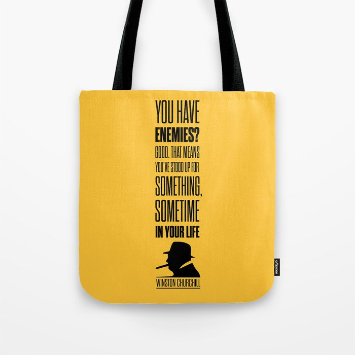 Lab No. 4 - Winston Churchill Inspirational Quotes Poster Tote Bag