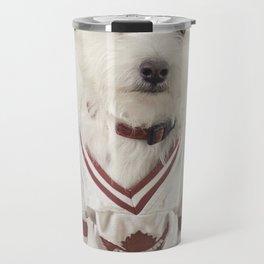 Hockey Player Dog Rookie Card Travel Mug